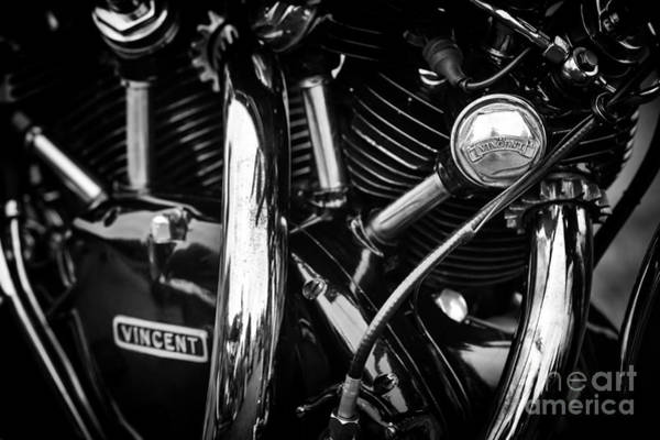 Chrome Engine Photograph - Vincent Engine Monochrome by Tim Gainey