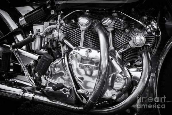 Chrome Engine Photograph - Vincent  by Tim Gainey