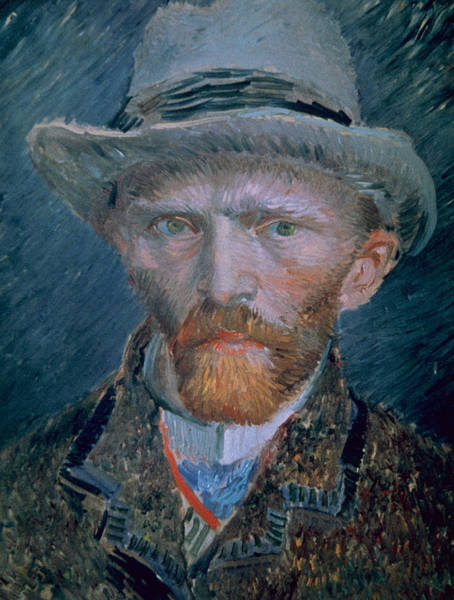 Wall Art - Painting - Vincent Van Gogh Self-portrait Bust With Brown Jacket And Gray Hat by Vincent Van Gogh