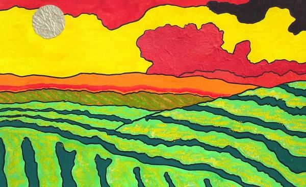 Okanagan Valley Painting - Vineyard A La Collage by Louise Adams