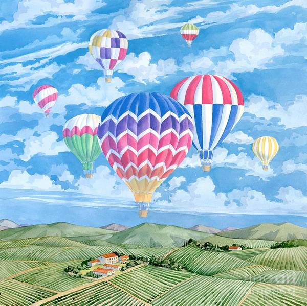 Wall Art - Painting - Vineyard Balloons by Paul Brent