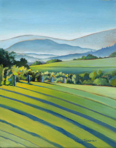 Vines Wall Art - Painting - Vineyard Blue Ridge On Buck Mountain Road Virginia by Catherine Twomey