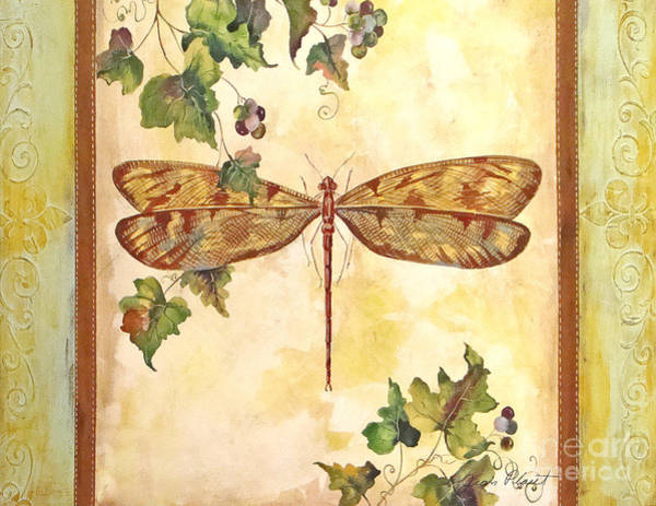 Emboss Wall Art - Painting - Vineyard Dragonfly by Jean Plout