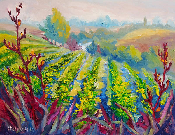 Painting - Vineyard Scene Oil Painting by Ekaterina Chernova