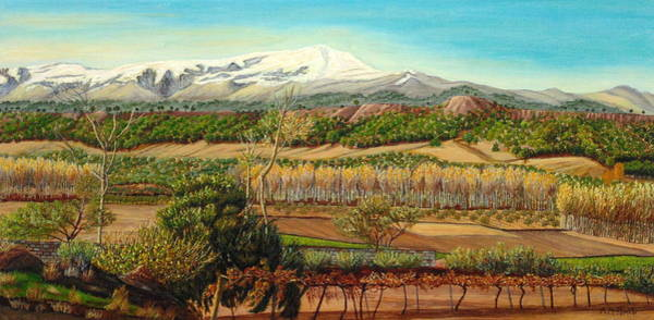 Almond Painting - Vineyard Valley In The Sierra Nevada Surroundings by Angeles M Pomata