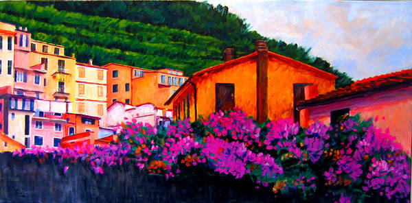 Cannon Beach Painting - Vineyards And Blossoms Italy by Michael Tieman