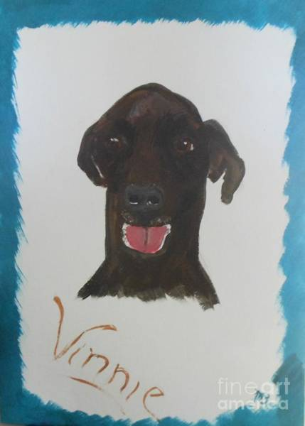 Black Great Dane Painting - Vinnie- A Great Big Lovable Giant by Marie Bulger