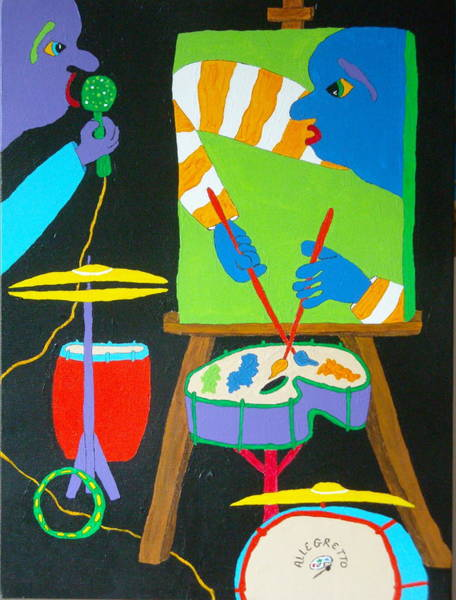 Conga Drum Painting - Vinny And The Van Goes Three by Pamela Allegretto