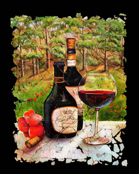 Painting - Vino by OLena Art - Lena Owens