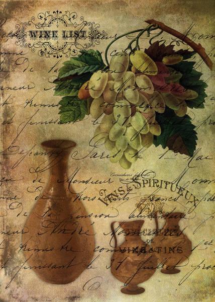 Jug Digital Art - Vins Spiritueux Nectar Of The Gods by Sarah Vernon
