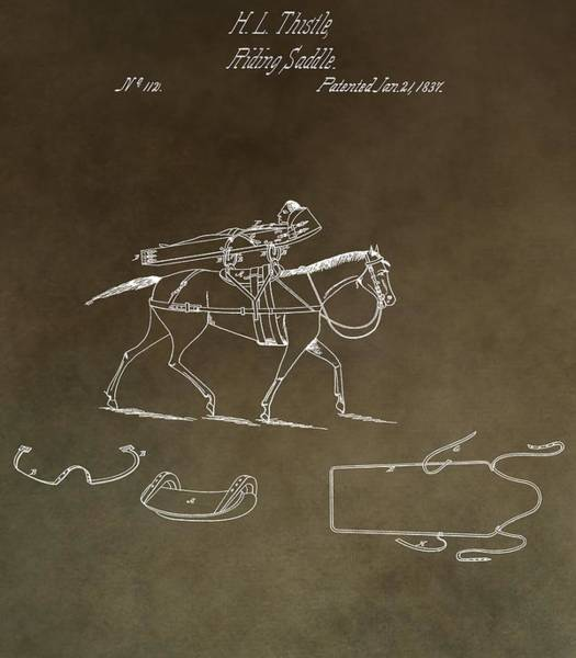 Mixed Media - Vintage 1837 Riding Saddle Patent by Dan Sproul