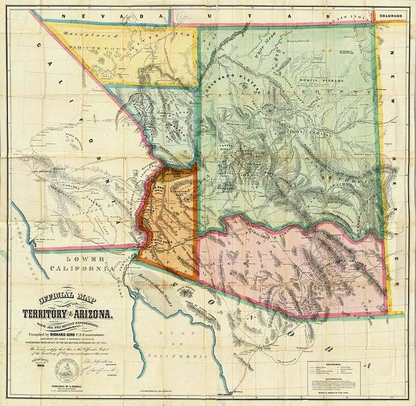Canyon Mixed Media - Vintage 1865 Arizona Territory Map by Dan Sproul