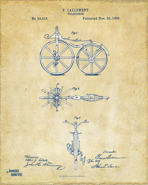 Wall Art - Digital Art - Vintage 1866 Velocipede Bicycle Patent Artwork by Nikki Marie Smith