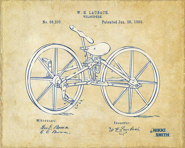 Wall Art - Digital Art - Vintage 1869 Velocipede Bicycle Patent Artwork by Nikki Marie Smith