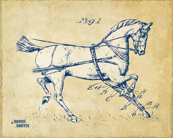 18th Century Digital Art - Vintage 1900 Horse Hobble Patent Artwork by Nikki Smith