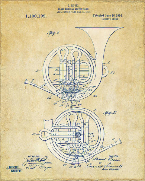 Digital Art - Vintage 1914 French Horn Patent Artwork by Nikki Marie Smith