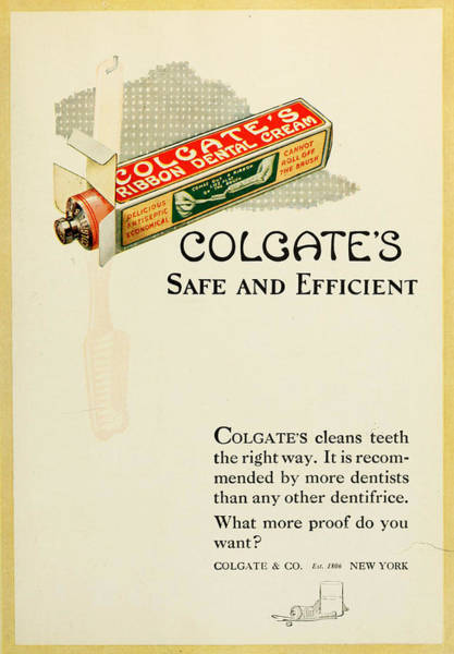 Colgate Wall Art - Photograph - Vintage 1920s Colegate Ad by Georgia Fowler