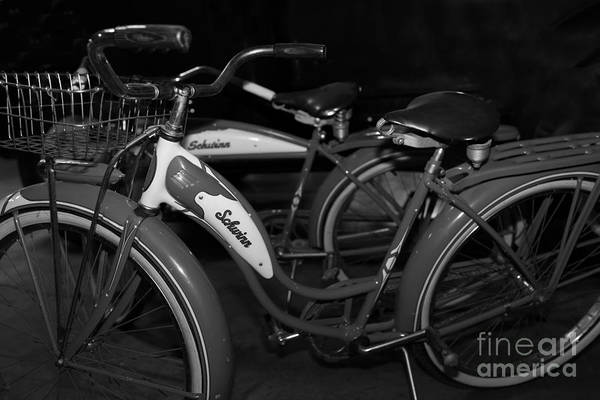 Photograph - Vintage 1941 Boys And 1946 Girls Bicycle 5d25760 Black And White by Wingsdomain Art and Photography