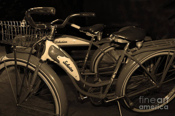 Photograph - Vintage 1941 Boys And 1946 Girls Bicycle 5d25760 Sepia1 by Wingsdomain Art and Photography