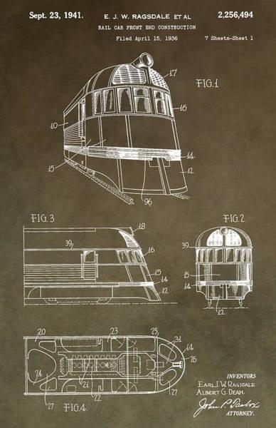 Digital Art - Vintage 1941 Train Patent by Dan Sproul