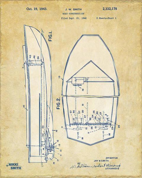 Fishermen Digital Art - Vintage 1943 Chris Craft Boat Patent Artwork by Nikki Marie Smith