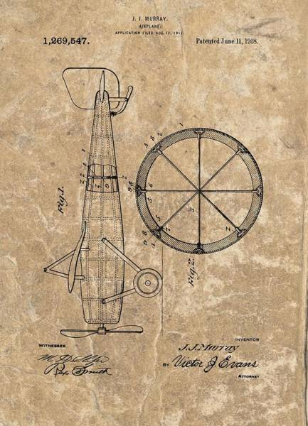 Vintage Airplane Drawing - Vintage Airplane Patent Illustration 1918 by Dan Sproul