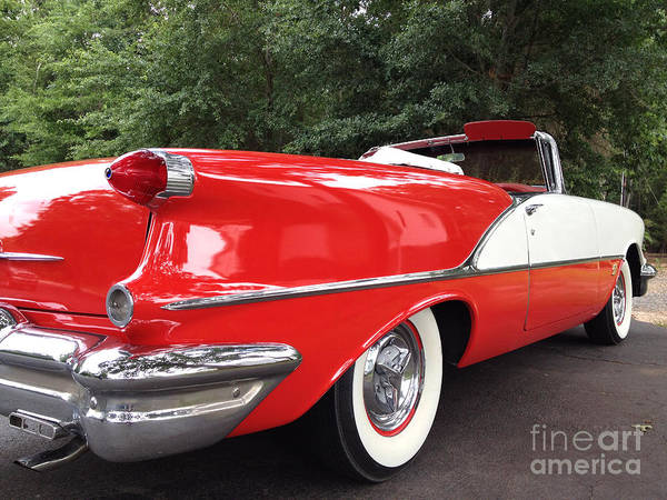 Oldsmobile Wall Art - Photograph - Vintage American Car - Red And White 1955 Oldsmobile Convertible Classic Car by Kathy Fornal