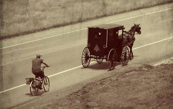 Amish Country Photograph - Vintage Amish Buggy And Bicycle by Dan Sproul