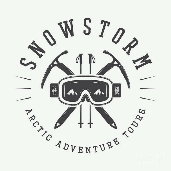 Snow Digital Art - Vintage Arctic Mountaineering Logo by Akimd