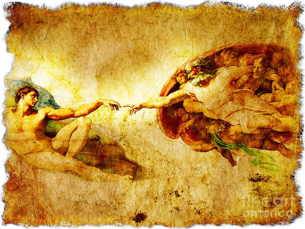 The Creation Of Adam Wall Art - Painting - Vintage Art - The Creation Of Adam by Stefano Senise