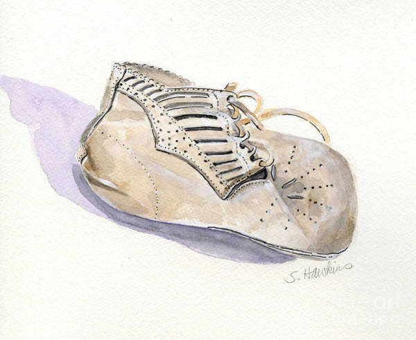 Wall Art - Painting - Vintage Baby Shoe by Sheryl Heatherly Hawkins