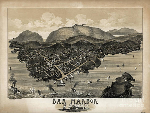 Acadia National Park Wall Art - Photograph - Vintage Bar Harbor Map by Pd