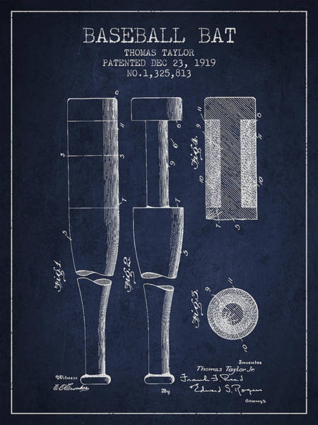 Baseball Bat Patent Wall Art - Digital Art - Vintage Baseball Bat Patent From 1919 by Aged Pixel