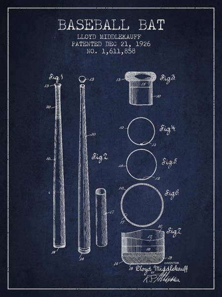 Baseball Bat Patent Wall Art - Digital Art - Vintage Baseball Bat Patent From 1926 by Aged Pixel