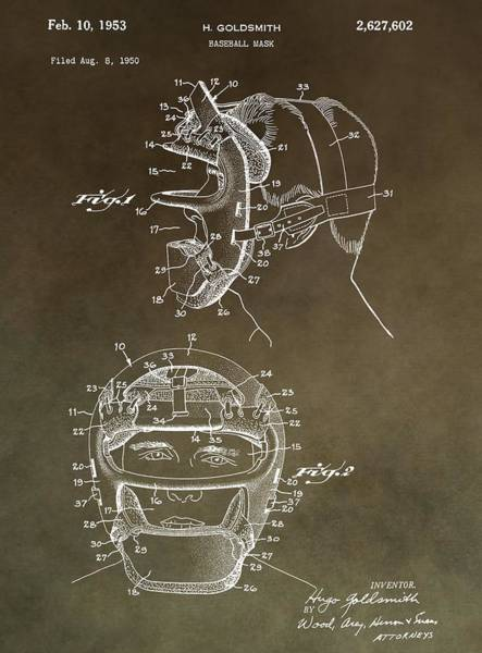 Wall Art - Mixed Media - Vintage Baseball Mask Patent by Dan Sproul