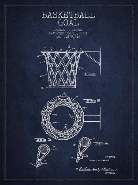 Hoop Wall Art - Digital Art - Vintage Basketball Goal Patent From 1951 by Aged Pixel