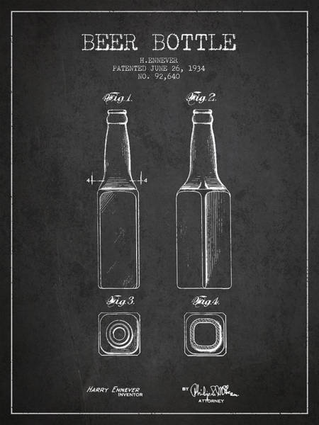 Exclusive Rights Wall Art - Digital Art - Vintage Beer Bottle Patent Drawing From 1934 - Dark by Aged Pixel