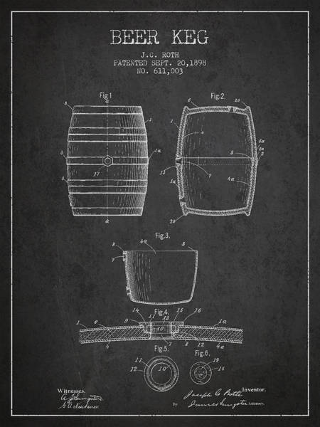 Exclusive Rights Wall Art - Digital Art - Vintage Beer Keg Patent Drawing From 1898 - Dark by Aged Pixel