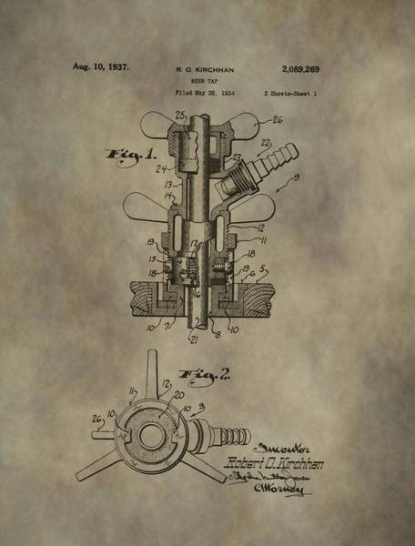 Drunk Mixed Media - Vintage Beer Tap Patent by Dan Sproul