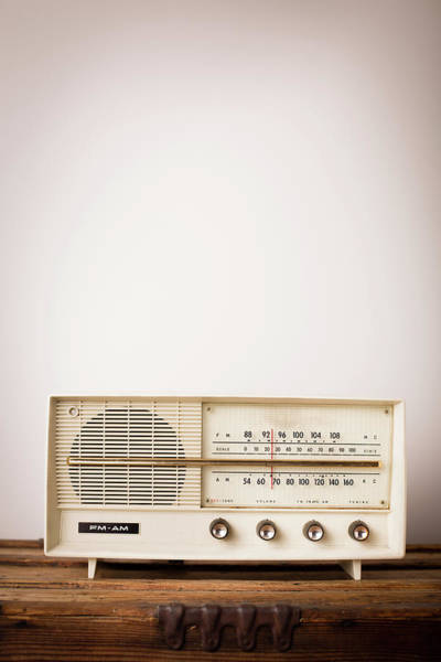 Equipment Photograph - Vintage Beige Radio Sitting On Wood by Ideabug