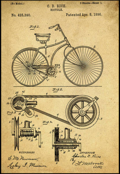 Photograph - Vintage Bicycle Patent 1890 by Bill Cannon