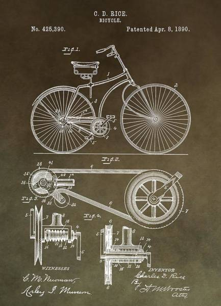 Mixed Media - Vintage Bicycle Patent Brown by Dan Sproul