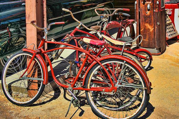 Bicycle Rack Photograph - Vintage Bicycles by Linda Phelps