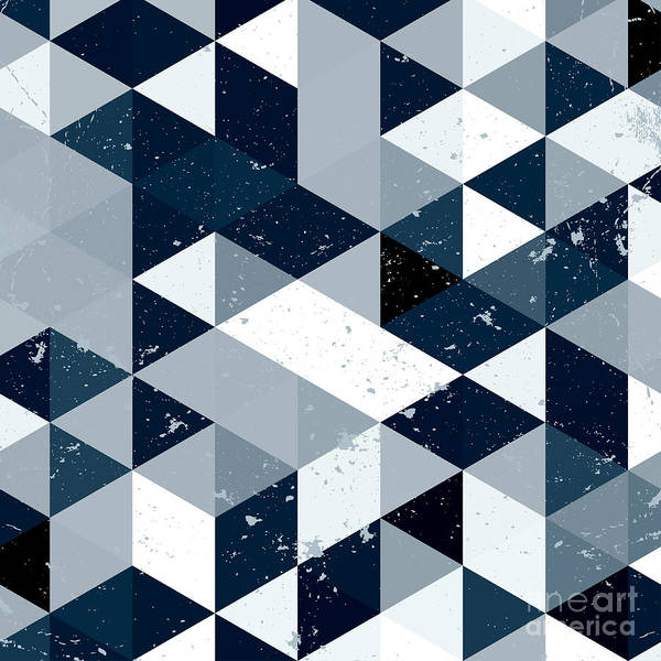 Bright Digital Art - Vintage  Blue And White Triangle by Veronika M