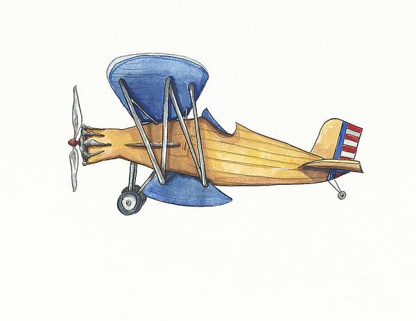 Boys Room Painting - Vintage Blue And Yellow Airplane by Annie Laurie