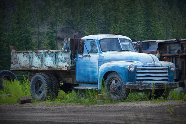 Clunker Wall Art - Photograph - Vintage Blue Chevrolet Pickup Truck by Randall Nyhof