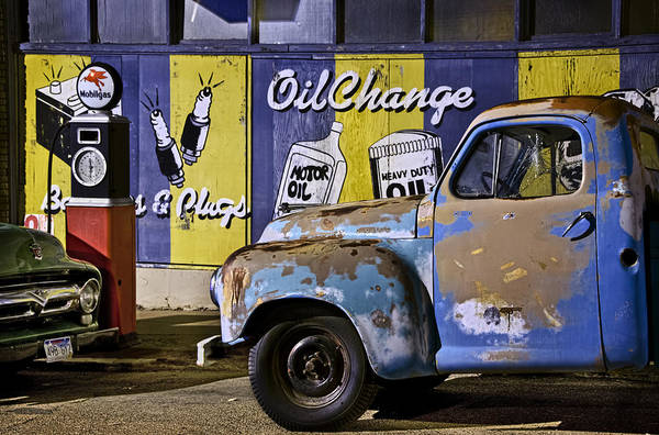 Photograph - Vintage Blue Pickup And Gas Station Near Bisbee Az by Dave Dilli