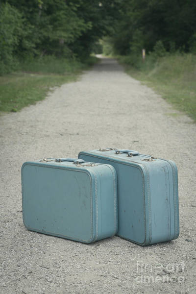 Photograph - Vintage Blue Suitcases On A Gravel Road by Edward Fielding