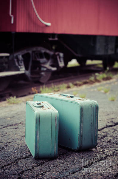 Red Caboose Photograph - Vintage Blue Suitcases With Red Caboose by Edward Fielding