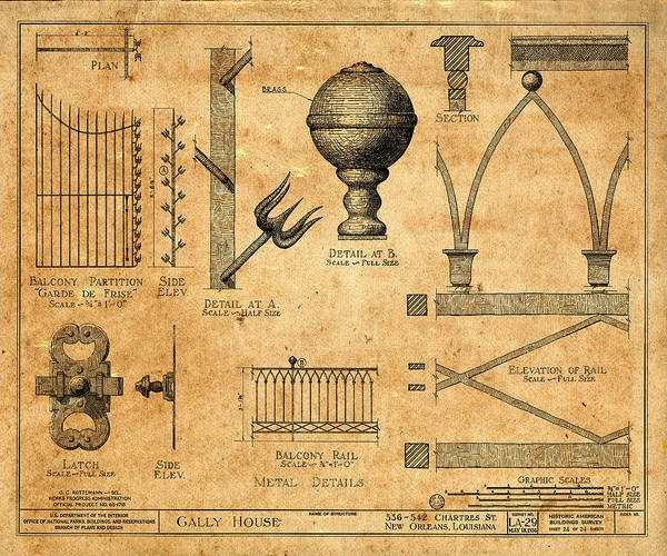 Photograph - Vintage Blueprints 1 by Andrew Fare